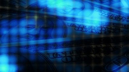 Blue Money Abstract Looping Animated Background