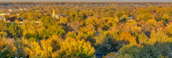 City of trees in full autumn color with a church