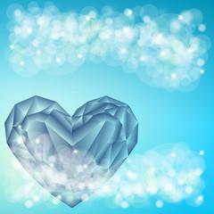 diamentowe serce na niebieskim tle 2
