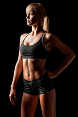 sports woman over black