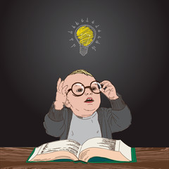 Kid with book and bulb above his head, vector Eps10 image.