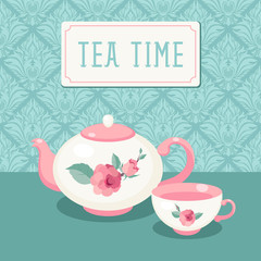 Tea time. Tea pot and cup against vntage wallpaper background
