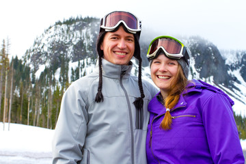Happy Snowboarding Couple