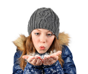 girl blowing snow on white background