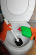Gloved hand cleaning toilet bowl using brush - 58235152