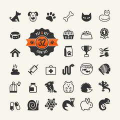 Web icon set - pet, vet, pet shop, types of pets