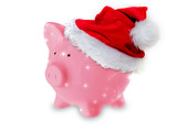 Pink Piggy Bank Santa Hat
