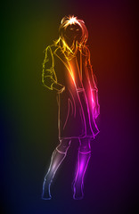 Hand-drawn fashion model from a neon. A light girl's