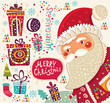 Funny Santa Claus with presents