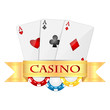 playing cards and casino chips isolated on white background.obje