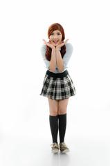Studiot shot of a happy schoolgirl