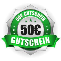 50 Euro Gutschein Siegel in grün-silber
