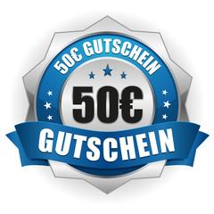 50 Euro Gutschein Siegel in blau-silber