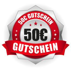 50 Euro Gutschein Siegel in rot-silber