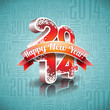 Vector Happy New Year 2014 design with ribbon.