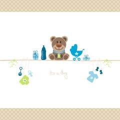 Brown Teddy & Baby Symbols Boy Retro Dots