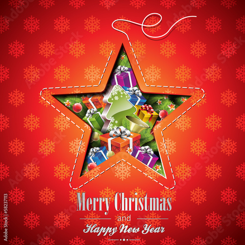 Vector Christmas illustration with abstract star design.