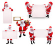 Santa girl in various action with sign