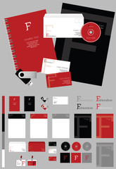 Fashion red corporate identity template. Vector company style