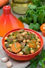 tagine with beef, chickpeas, vegetables and herbs, vertical