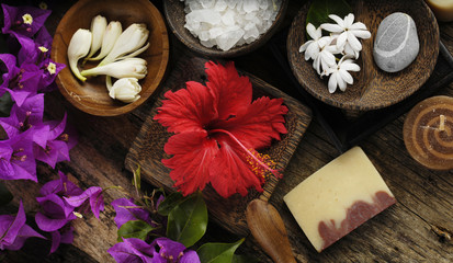 Tropical Spring flower with soap, salt in bowl ,candle,