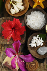 beautiful set for tropical spa and aromatherapy