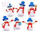 Snowman in various action