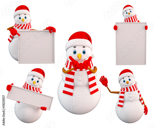 Snowman in various action with sign