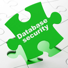 Privacy concept: Database Security on puzzle background