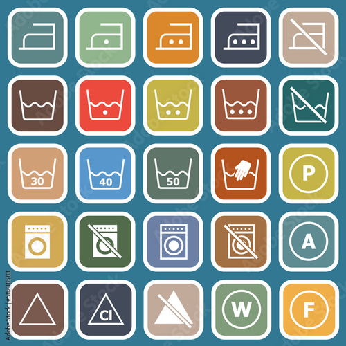 Laundry flat icons on blue background