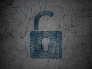 Security concept: Opened Padlock on grunge wall background