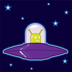 UFO with green alien