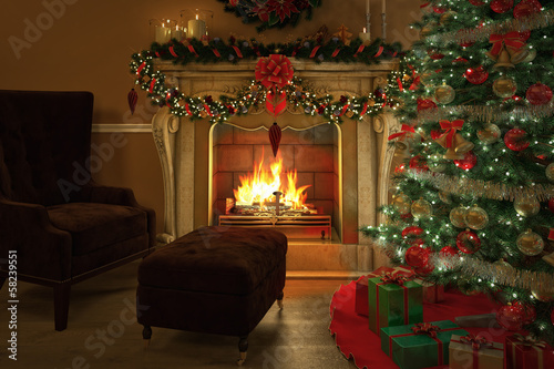christmas tree with fireplace