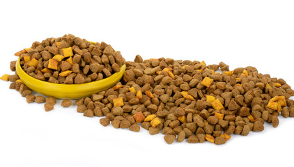 Dog dry food in a bowl
