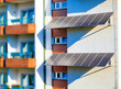 solar panel to produce clean green electricity at the wall of a