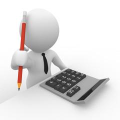 Ein Geschäftsmann mit Tachenrechner und Bleistift