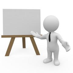 Ein Dozent vor einem Whiteboard mit ausgestreckter Hand