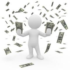 Eine 3d Figur steht im Geldregen und fängt Gelscheine auf