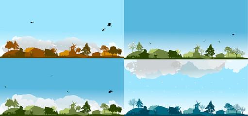 set of four seasons in village