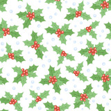 Seamless Christmas pattern with holly and snowflakes