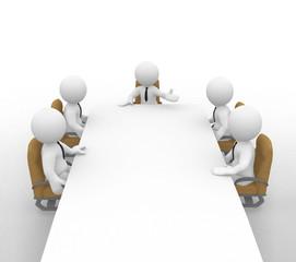 Fünf Geschäftsmänner auf ihren Stühlen beim Meeting