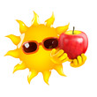 Sun eats an apple every day