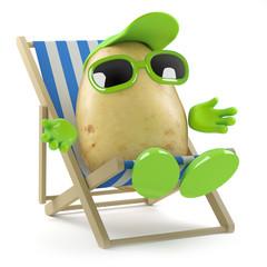 Potato sunbathes