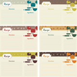 Retro recipe cards. 6 vector illustrations
