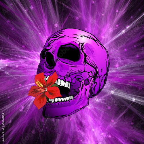 Purple Sugar Skull with Hibiscus Flower-Teschio Viola
