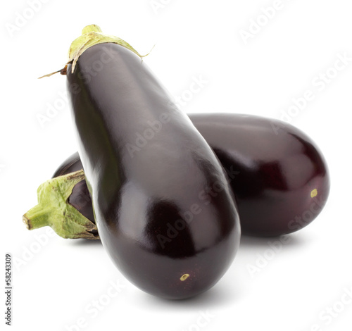 Black eggplants isolated on white background