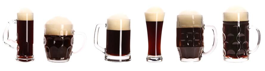 Close up of various beer mugs.