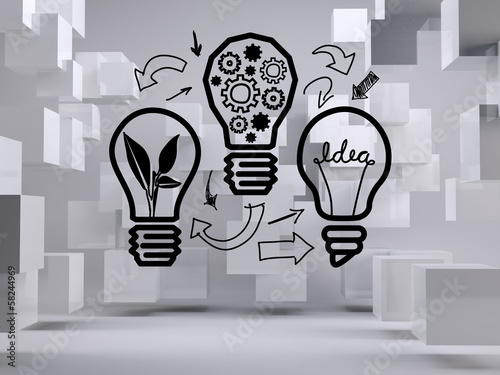 Light bulbs on background with cubes