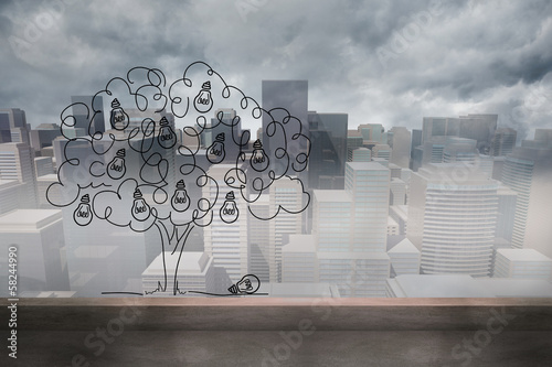 Light bulb tree over cityscape