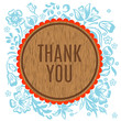 Thank you vector greeting card with wooden circle